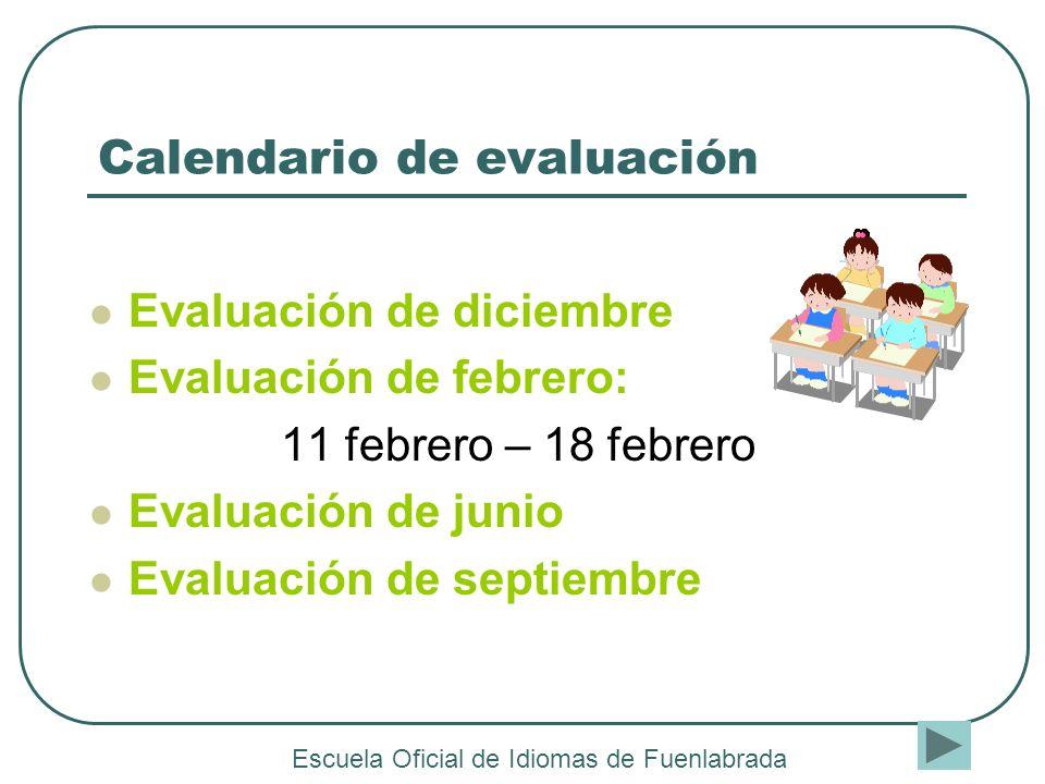 Calendario de evaluación