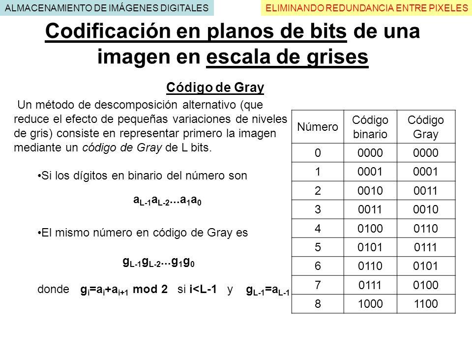 Codificación en planos de bits de una imagen en escala de grises