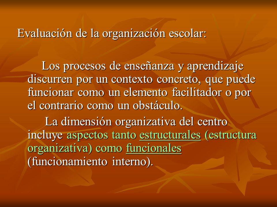 Evaluación de la organización escolar: