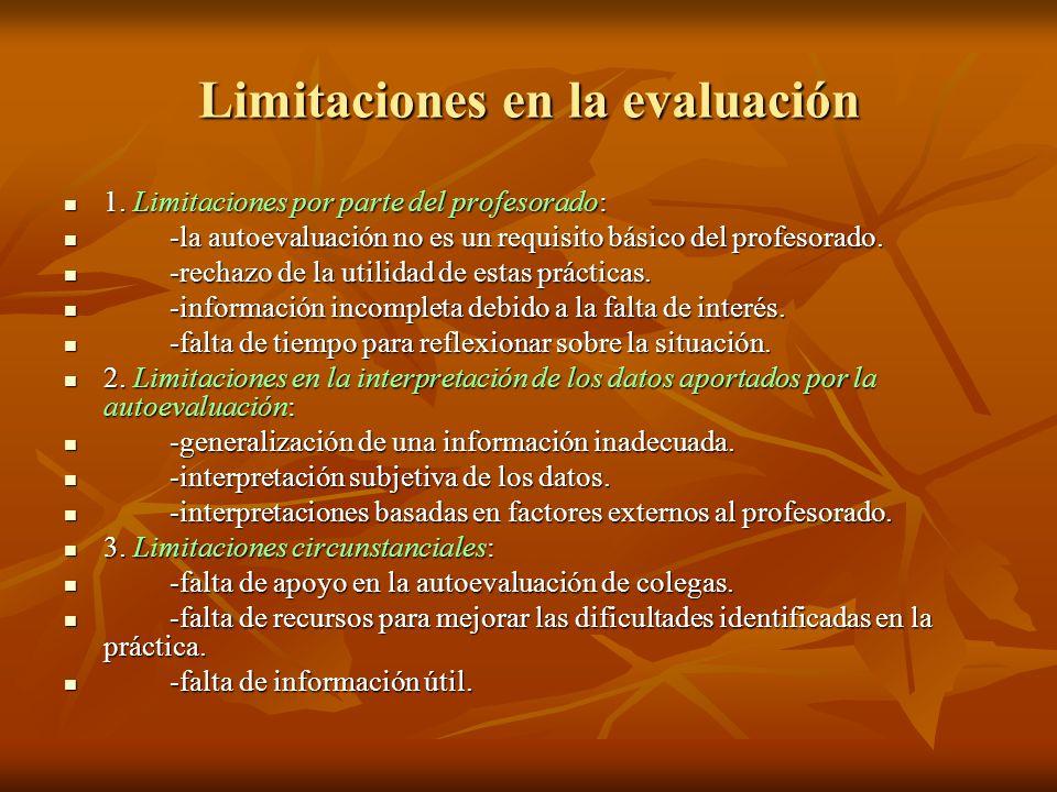 Limitaciones en la evaluación