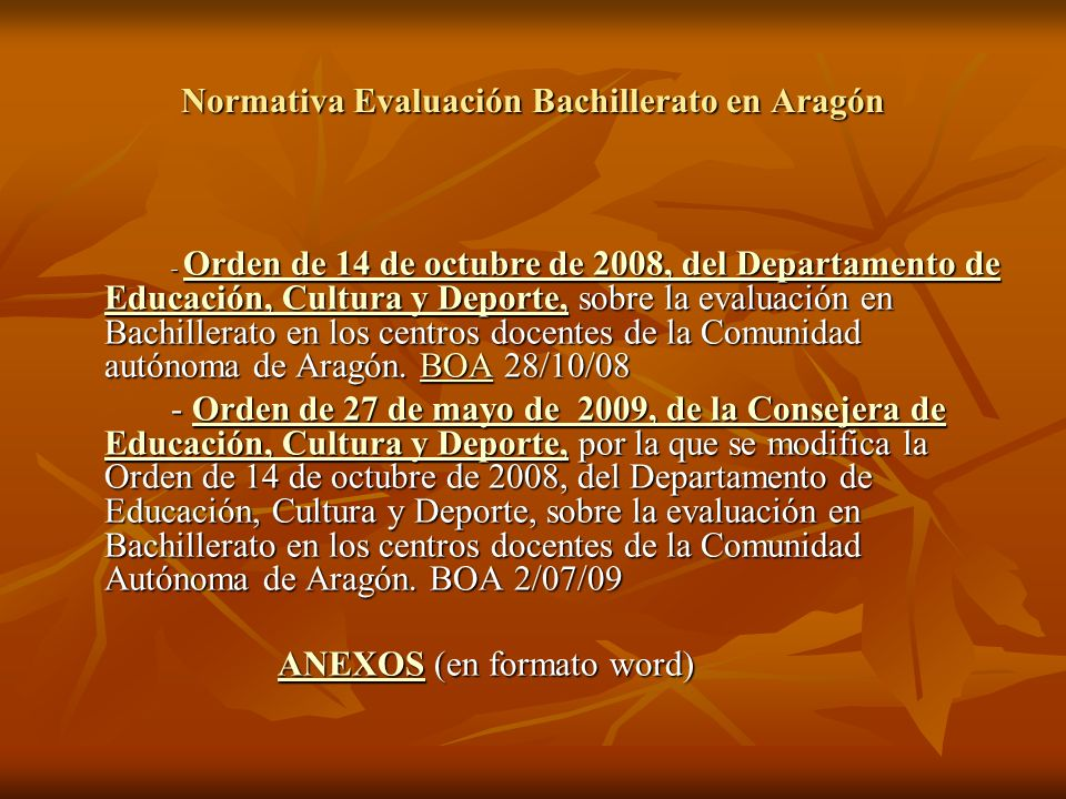 Normativa Evaluación Bachillerato en Aragón
