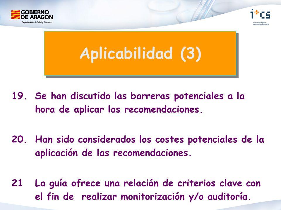 Aplicabilidad (3) 19. Se han discutido las barreras potenciales a la hora de aplicar las recomendaciones.