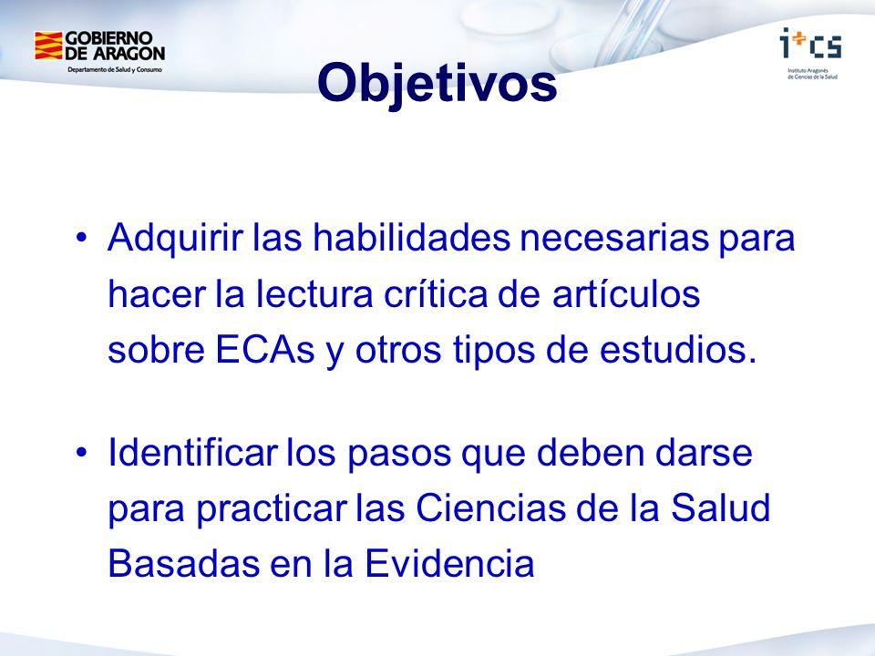 Objetivos Adquirir las habilidades necesarias para hacer la lectura crítica de artículos sobre ECAs y otros tipos de estudios.