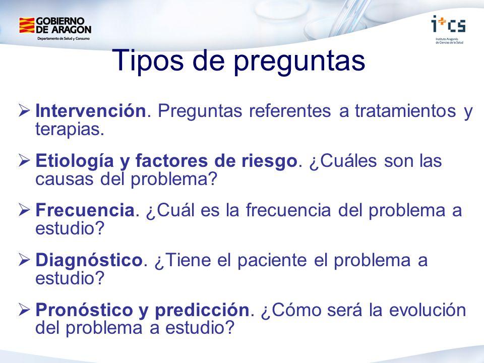 Tipos de preguntas Intervención. Preguntas referentes a tratamientos y terapias.