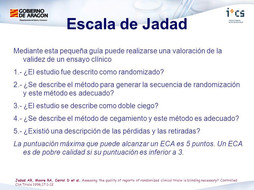 Escala de Jadad Mediante esta pequeña guía puede realizarse una valoración de la validez de un ensayo clínico.
