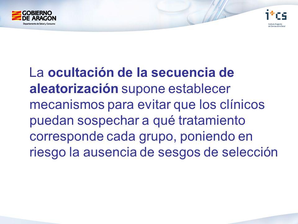 La ocultación de la secuencia de aleatorización supone establecer mecanismos para evitar que los clínicos puedan sospechar a qué tratamiento corresponde cada grupo, poniendo en riesgo la ausencia de sesgos de selección