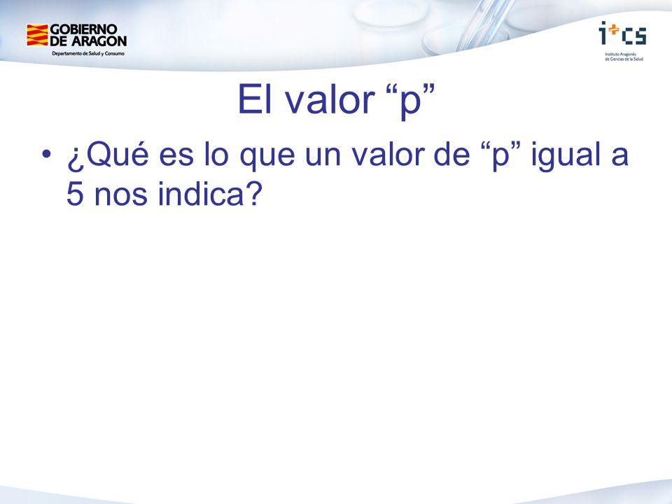 El valor p ¿Qué es lo que un valor de p igual a 5 nos indica