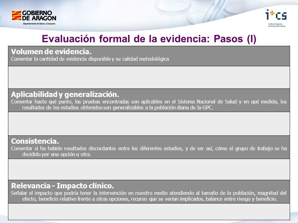 Evaluación formal de la evidencia: Pasos (I)