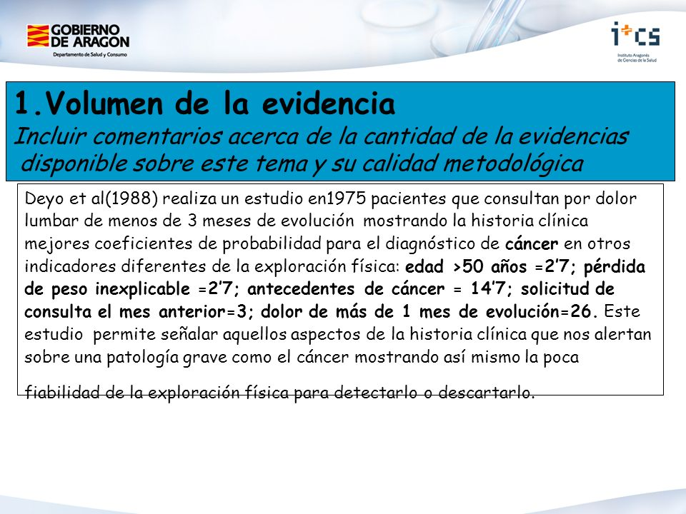 1.Volumen de la evidencia