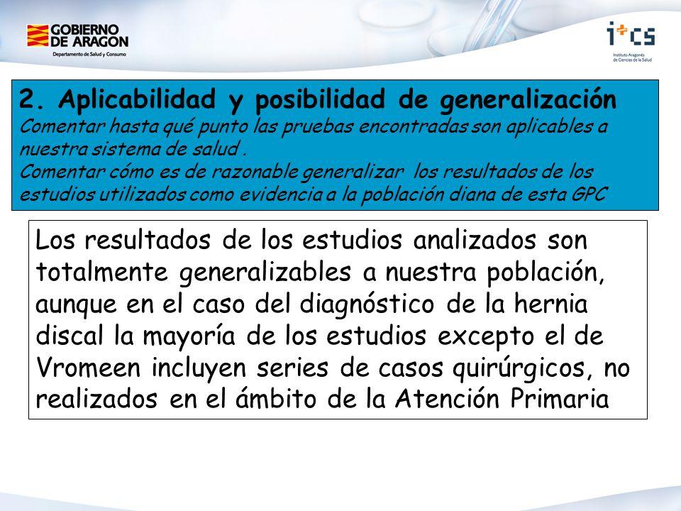 2. Aplicabilidad y posibilidad de generalización