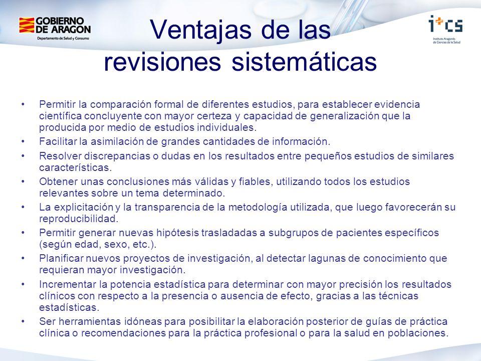 Ventajas de las revisiones sistemáticas
