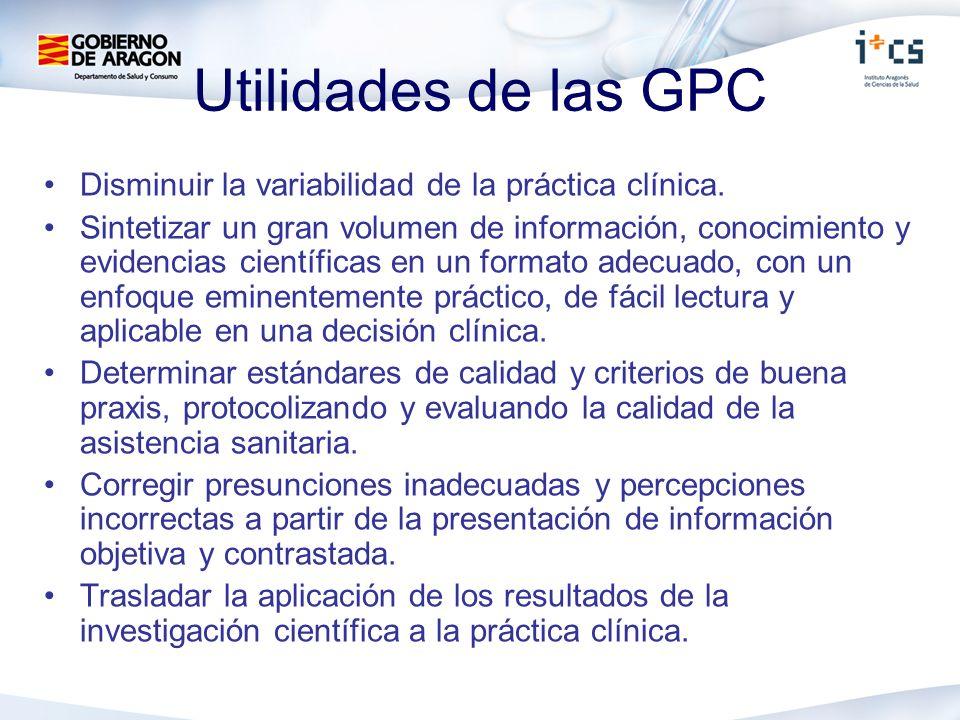 Utilidades de las GPC Disminuir la variabilidad de la práctica clínica.