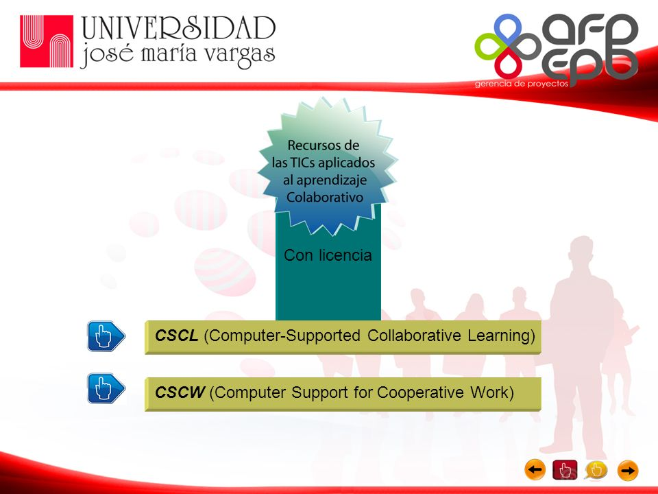 Con licencia CSCL (Computer-Supported Collaborative Learning) CSCW (Computer Support for Cooperative Work)