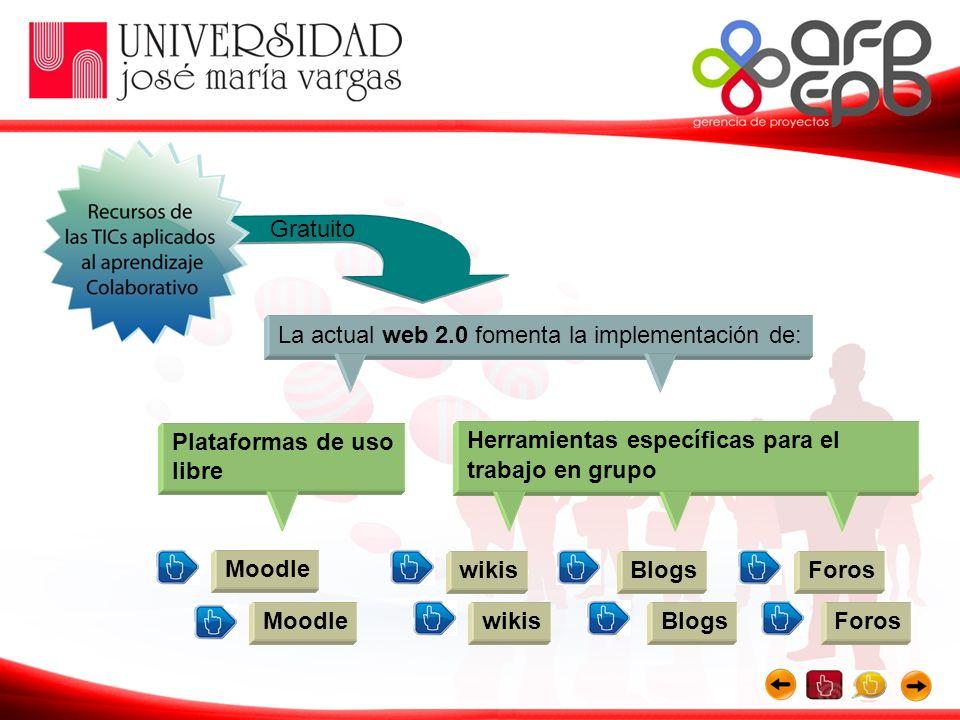 Gratuito La actual web 2.0 fomenta la implementación de: Plataformas de uso libre. Herramientas específicas para el trabajo en grupo.