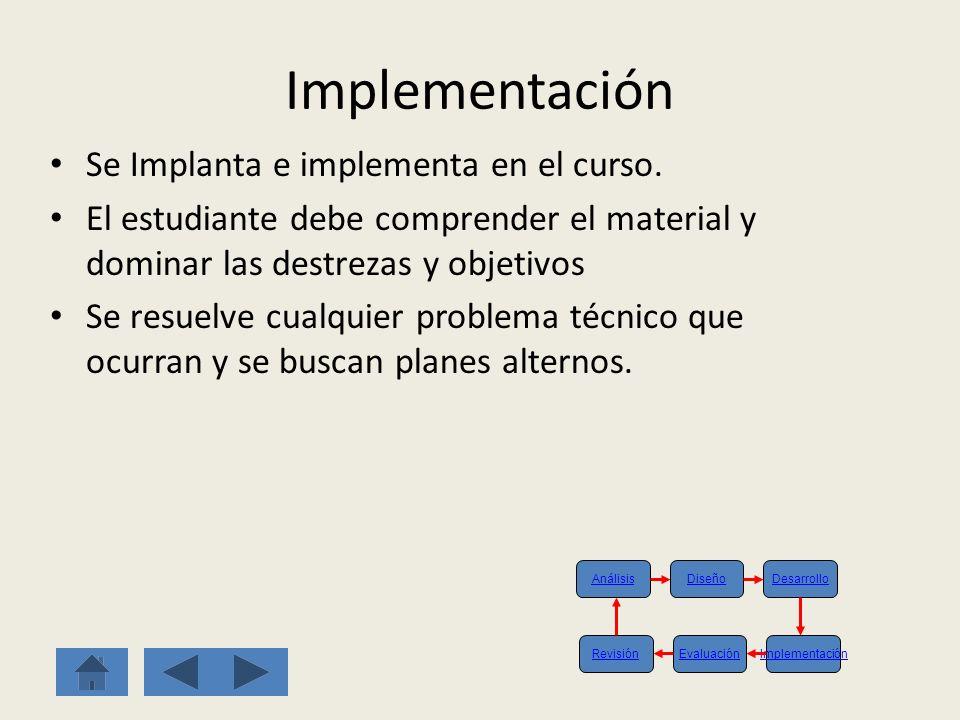 Implementación Se Implanta e implementa en el curso.
