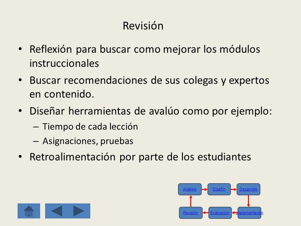 Revisión Reflexión para buscar como mejorar los módulos instruccionales. Buscar recomendaciones de sus colegas y expertos en contenido.