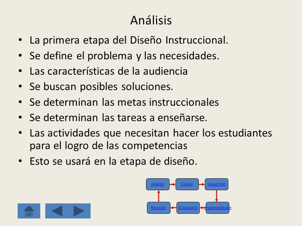 Análisis La primera etapa del Diseño Instruccional.
