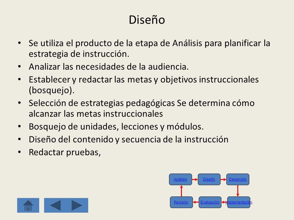 Diseño Se utiliza el producto de la etapa de Análisis para planificar la estrategia de instrucción.