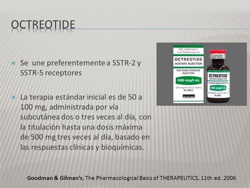 OctreotidE Se une preferentemente a SSTR-2 y SSTR-5 receptores