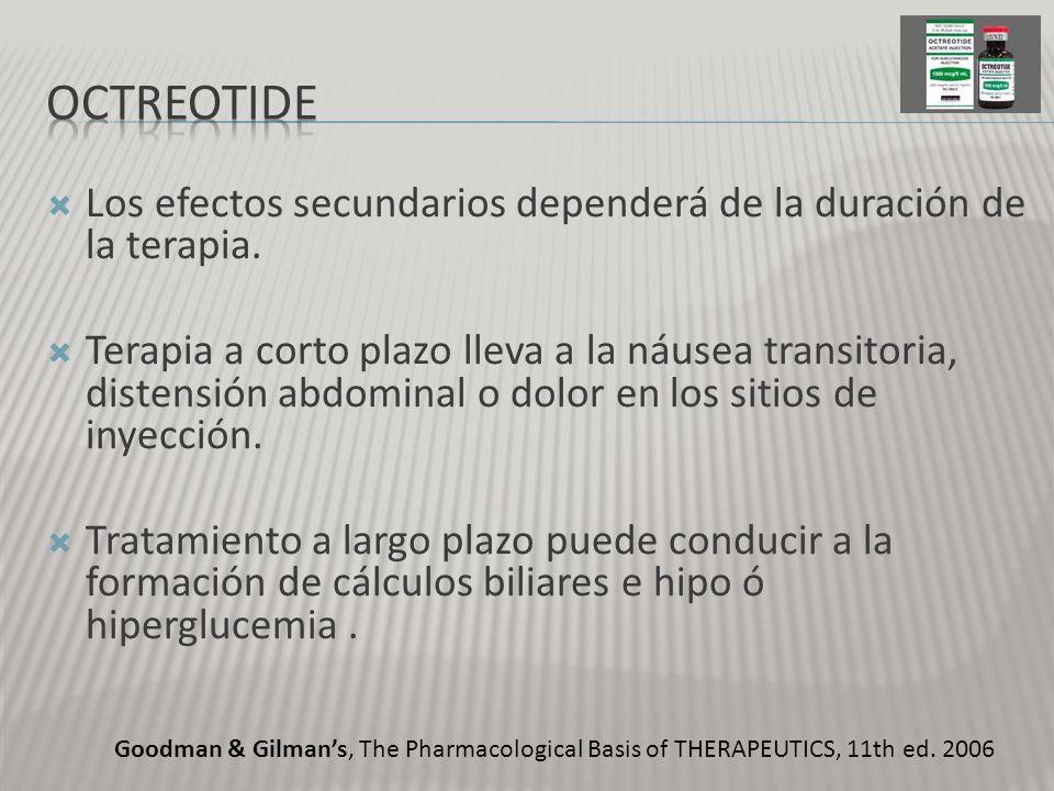 OctreotidE Los efectos secundarios dependerá de la duración de la terapia.