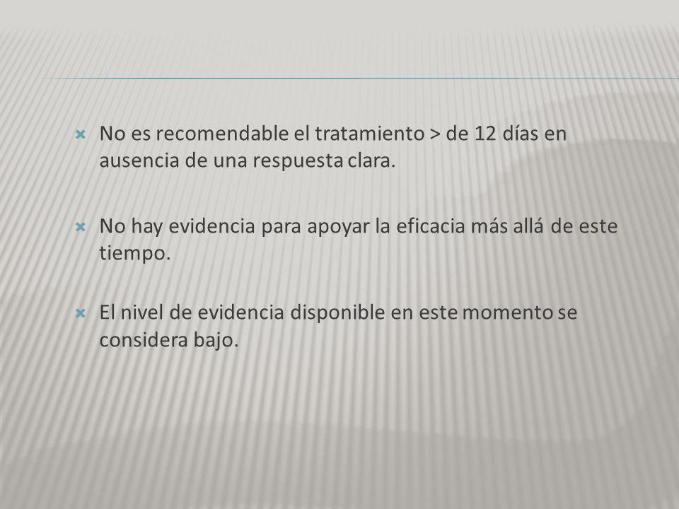 No es recomendable el tratamiento > de 12 días en ausencia de una respuesta clara.