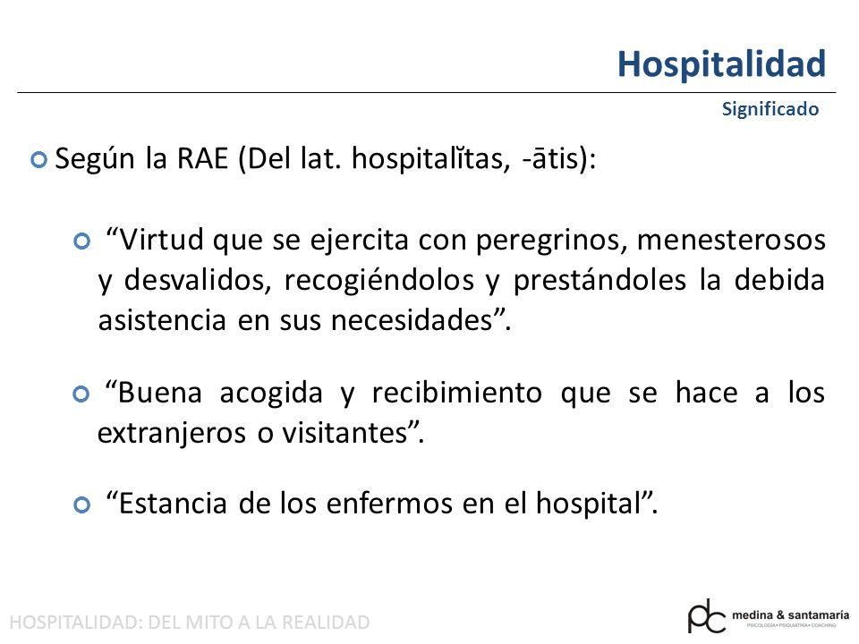 Hospitalidad Según la RAE (Del lat. hospitalĭtas, -ātis):