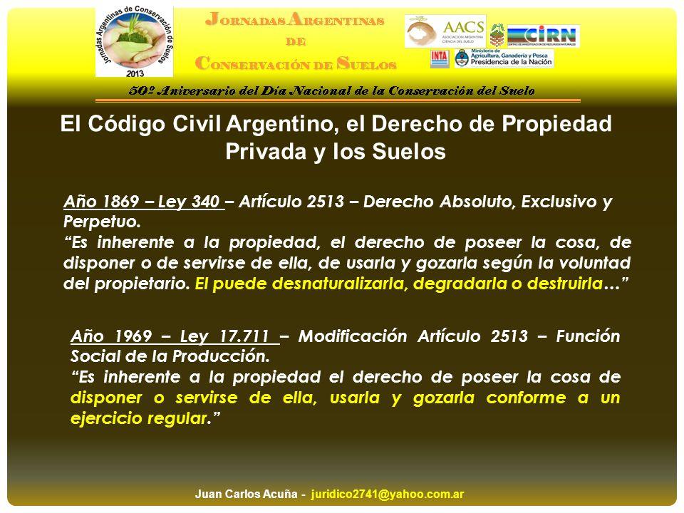 El Código Civil Argentino, el Derecho de Propiedad Privada y los Suelos