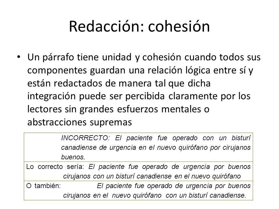 Redacción: cohesión