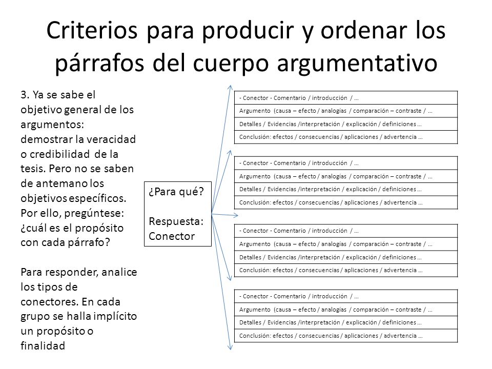 Criterios para producir y ordenar los párrafos del cuerpo argumentativo