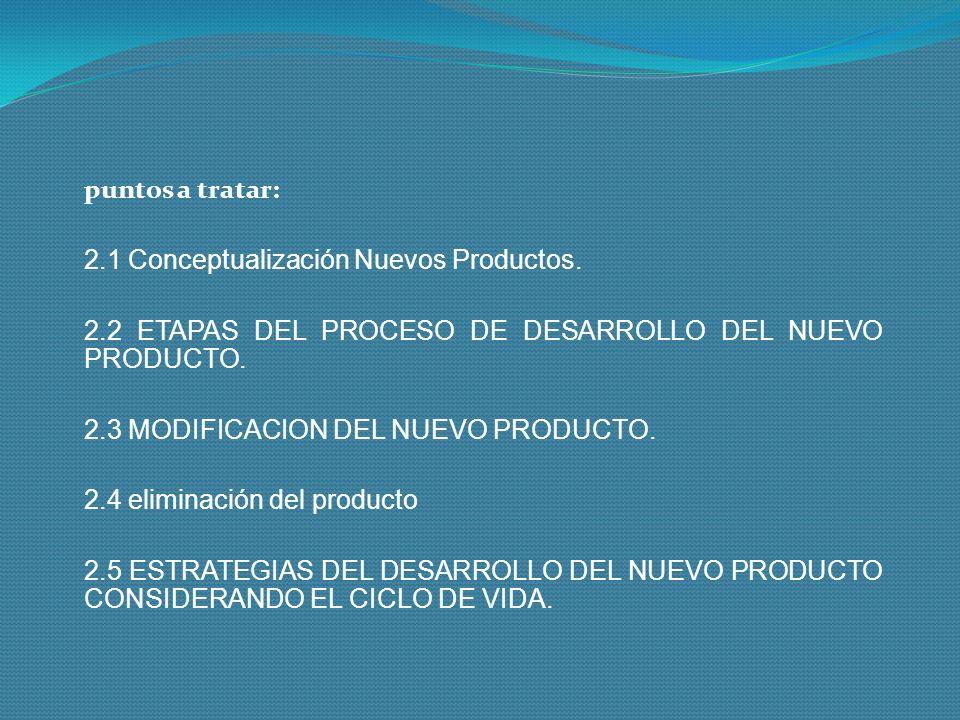 puntos a tratar: 2.1 Conceptualización Nuevos Productos. 2.2 ETAPAS DEL PROCESO DE DESARROLLO DEL NUEVO PRODUCTO.