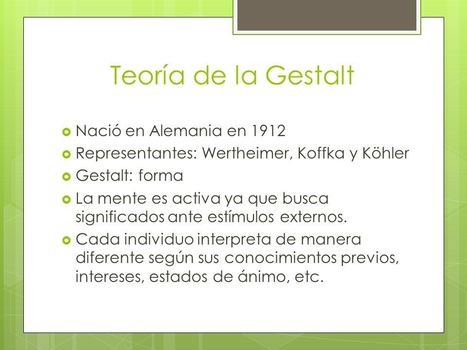 Teoría de la Gestalt Nació en Alemania en 1912