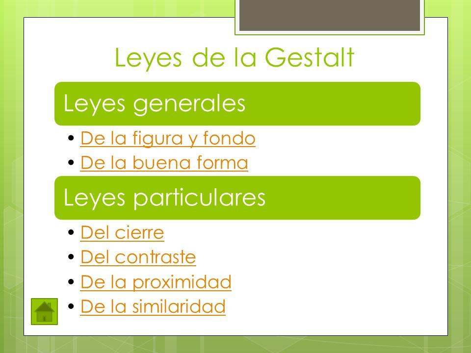Leyes de la Gestalt Leyes generales De la figura y fondo
