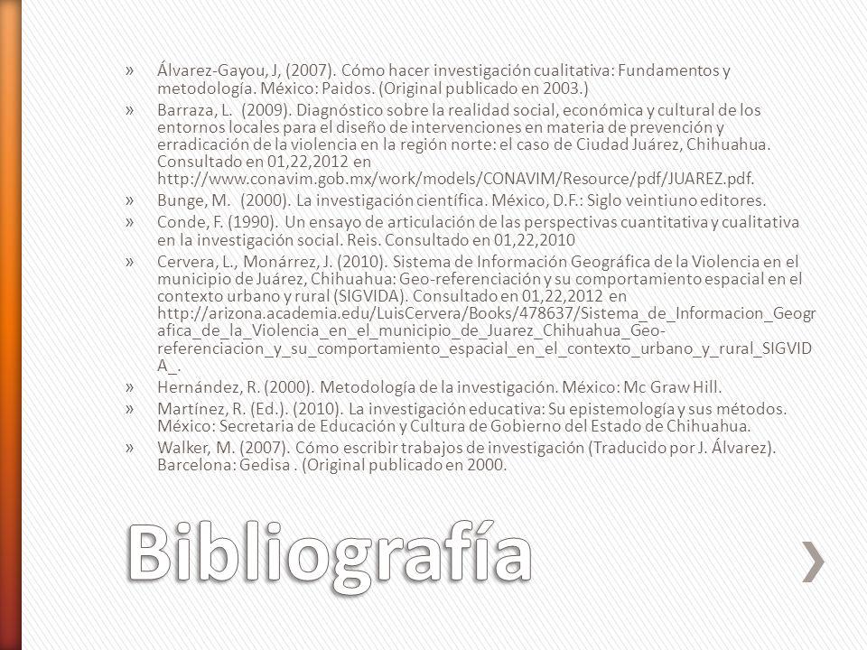 Álvarez-Gayou, J, (2007). Cómo hacer investigación cualitativa: Fundamentos y metodología. México: Paidos. (Original publicado en 2003.)