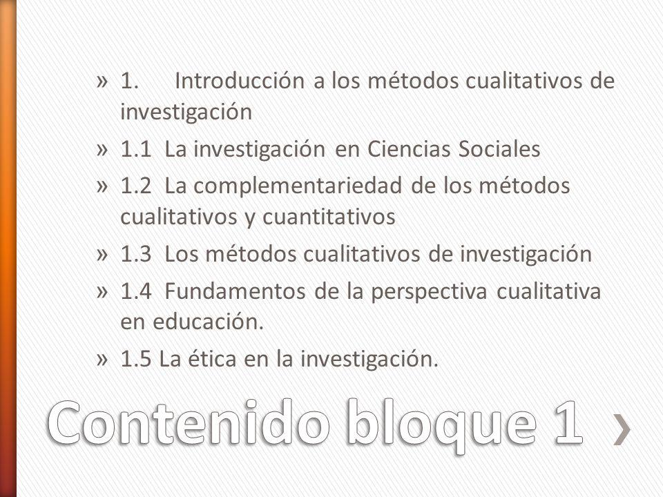 1. Introducción a los métodos cualitativos de investigación