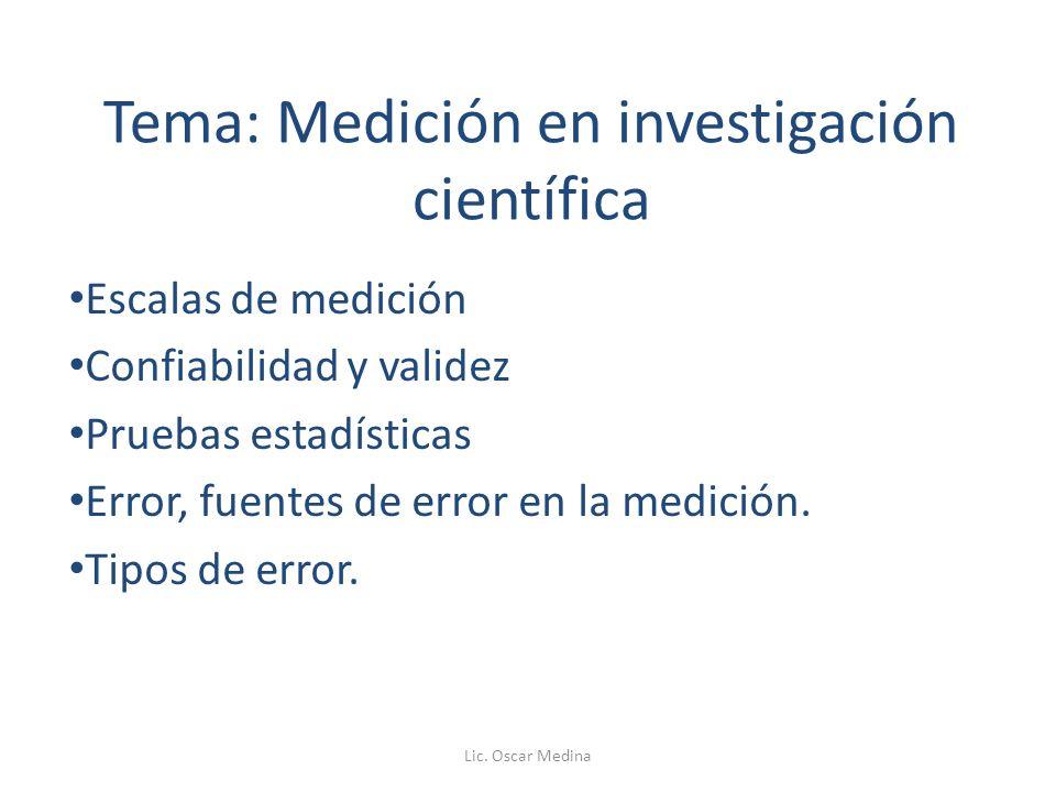 Tema: Medición en investigación científica