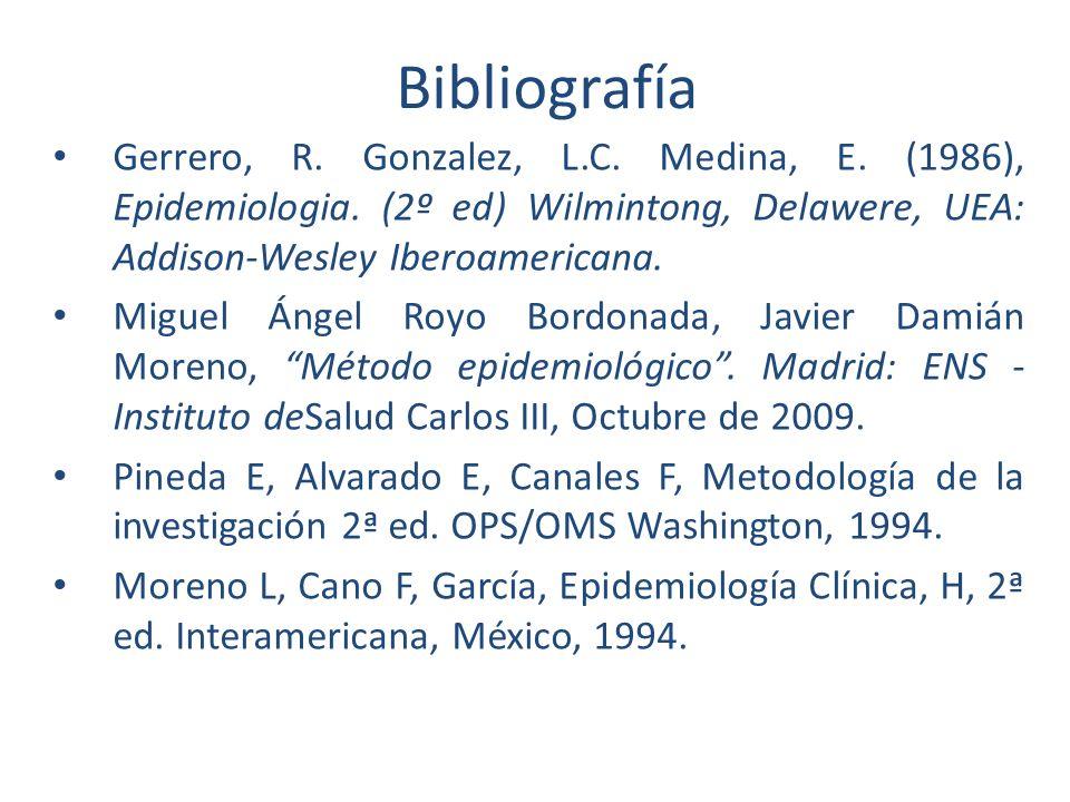 Bibliografía Gerrero, R. Gonzalez, L.C. Medina, E. (1986), Epidemiologia. (2º ed) Wilmintong, Delawere, UEA: Addison-Wesley Iberoamericana.