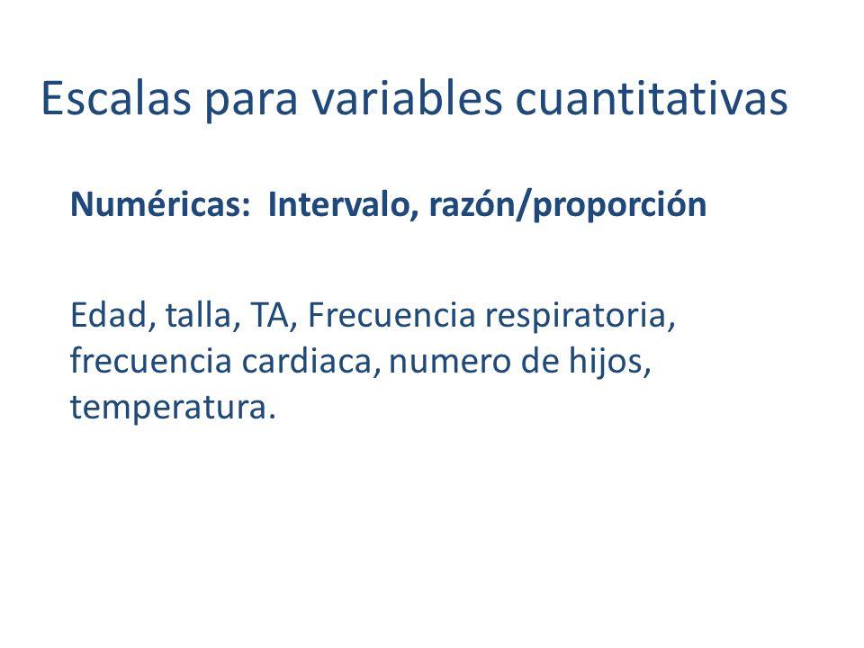 Escalas para variables cuantitativas
