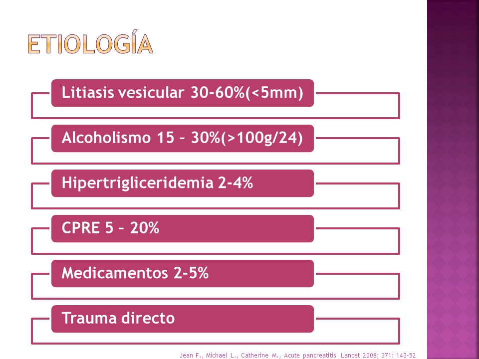 etiología Litiasis vesicular 30-60%(<5mm)