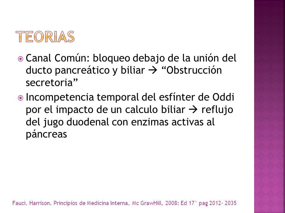TEORIAS Canal Común: bloqueo debajo de la unión del ducto pancreático y biliar  Obstrucción secretoria