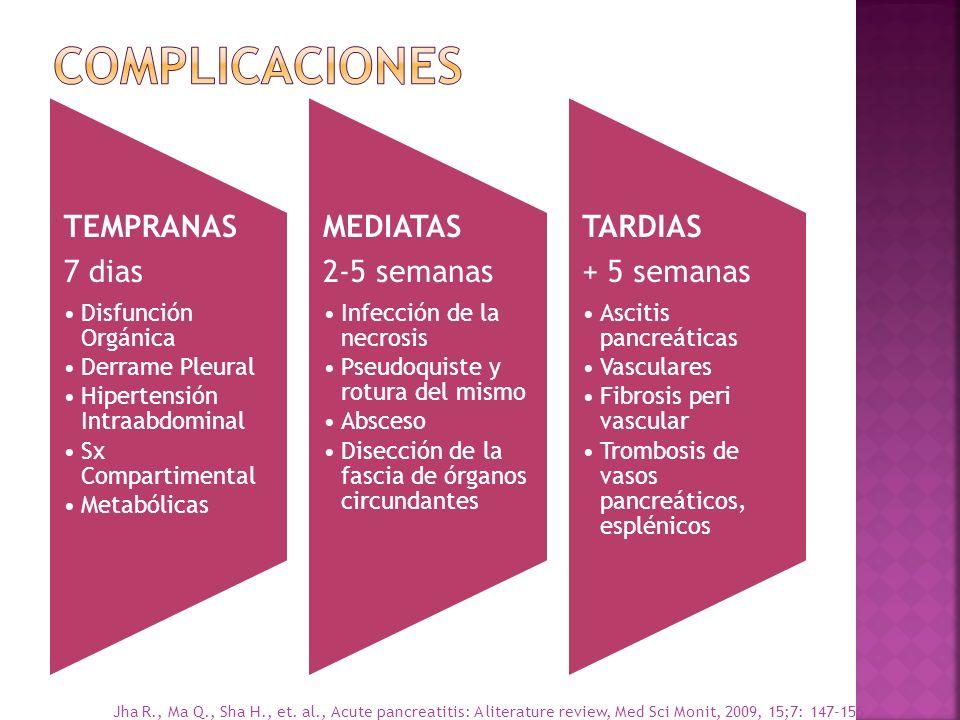 COMPLICACIONES TEMPRANAS 7 dias MEDIATAS 2-5 semanas