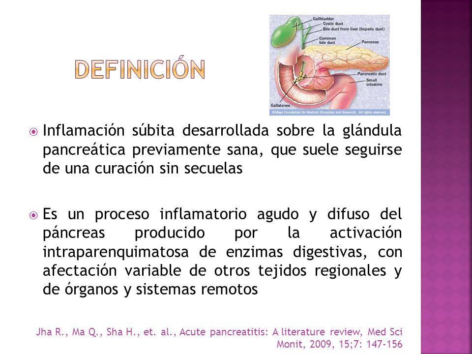 Definición Inflamación súbita desarrollada sobre la glándula pancreática previamente sana, que suele seguirse de una curación sin secuelas.