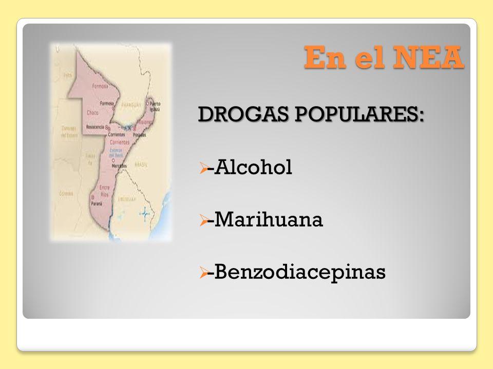 En el NEA DROGAS POPULARES: -Alcohol -Marihuana -Benzodiacepinas