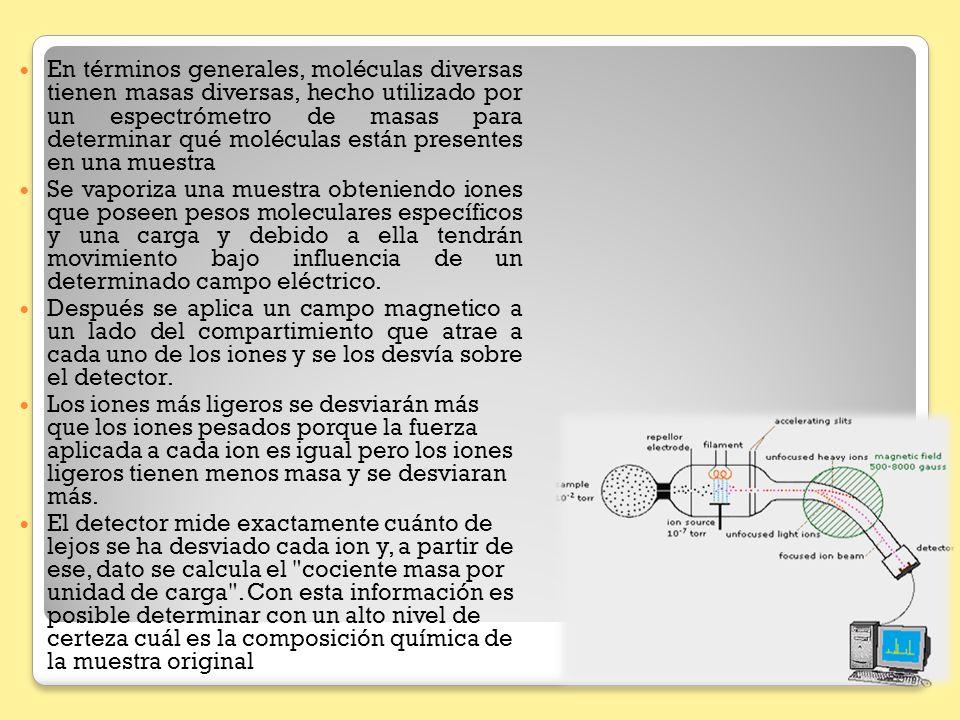 En términos generales, moléculas diversas tienen masas diversas, hecho utilizado por un espectrómetro de masas para determinar qué moléculas están presentes en una muestra