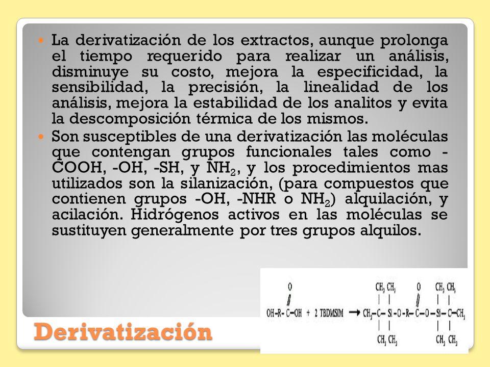 La derivatización de los extractos, aunque prolonga el tiempo requerido para realizar un análisis, disminuye su costo, mejora la especificidad, la sensibilidad, la precisión, la linealidad de los análisis, mejora la estabilidad de los analitos y evita la descomposición térmica de los mismos.