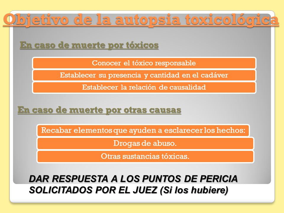 Objetivo de la autopsia toxicológica