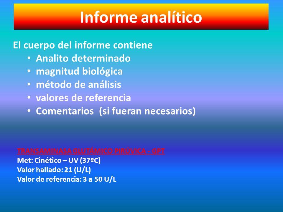 Informe analítico El cuerpo del informe contiene Analito determinado