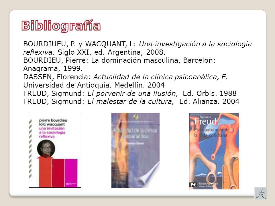 Bibliografía BOURDIUEU, P. y WACQUANT, L: Una investigación a la sociología reflexiva. Siglo XXI, ed. Argentina, 2008.