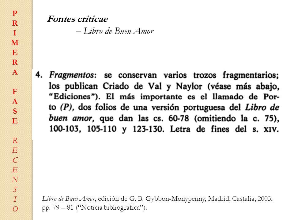 Fontes criticae – Libro de Buen Amor P R I M E A F S C N O