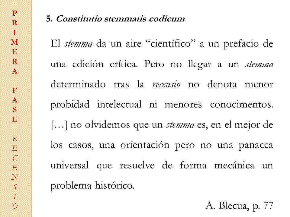 P R. I. M. E. A. F. S. C. N. O. 5. Constitutio stemmatis codicum.