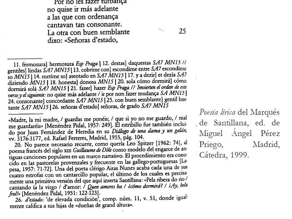 Poesía lírica del Marqués de Santillana, ed
